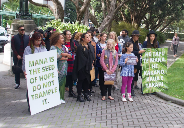 "Delivery of Filmmaker Renee Maihi's petition to strip Bob Jones of his Knighthood for ""racist"" comments. Depicts a group of people, with Renae Maihi at the centre, waiting to be welcomed onto Parliament grounds for a powhiri. Two people are holding signs ""Mana is the seed of hope. Do not trample it."" and the Māori equivalent ""He taps the mana. He kakano. Kaua e takahi."" Photo by Rick Zwaan."